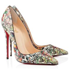christian lubaton shoes - christian louboutin pointed-toe pumps Green pony hair camouflage ...