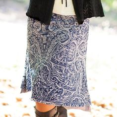 Two for the price of one! The Natalie Skirt is reversible with a fun burnout print on the top layer and a solid jersey on the inner layer. What's not to love about the versatility of a reversible skirt? Love this from Aventura! Aventura Clothing, Reversible Skirt, Outdoor Fashion, Lifestyle Clothing, Summer Trends, Comfortable Outfits, Mom Style, Dress Skirt, Sequin Skirt
