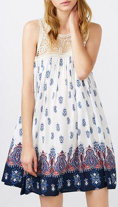 Lace Insert Ethnic Print Mini Swing Dress