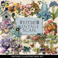 New Freebies Vintage Flowers Vignettes