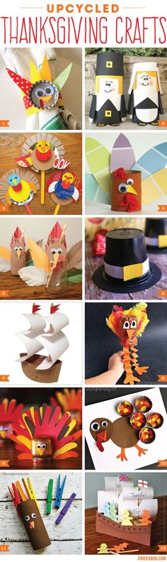 Upcycled Thanksgiving crafts for kids! #thanksgiving #crafts #upcycle