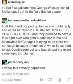 Fred and George Weasley arguing over who gets to ask McGonagall to the Yule Ball vs. Sirius and James arguing over who gets to ask out Dumbledore Hogwarts, Slytherin Pride, Ravenclaw, Hufflepuff Funny, Harry Potter Jokes, Harry Potter Fandom, Harry Potter Imagines, Drarry, Yer A Wizard Harry