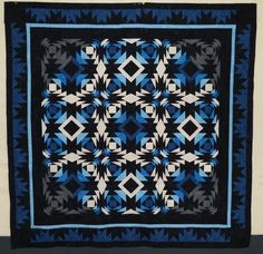 Pineapple log cabin quilt top, blue and white,  by Bea at beaquilter