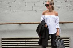 Blogger modelovers, off shoulder blouse by ZARA, Mini Luggage Celine bag and Celine sunglasses