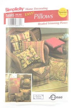 Simplicity Pattern 5685 Home Decorating Easy! Pillows, Beaded Trimming Pizzaz, Bead Trim Pillow Pattern One Size UNCUT by… #etsy