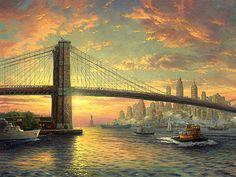 The Spirit of New York ~ Thomas Kinkade . Thomas Kinkade Art, Kinkade Paintings, Thomas Kincaid, Impressionist Paintings, Ocean Paintings, Art Thomas, All Nature, Beautiful Paintings, Amazing Art