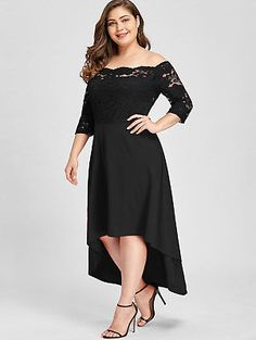 Women Party Dress Plus Size Off Shoulder Dip Hem Lace Length Sleeves Dress Asymmetrical Elegant Vestidos Big Size Gender: WomenSleeve Style: RegularWaistline: EmpireSilhouette: AsymmetricalSleeve Length(cm): Three QuarterDecoration: LaceDresses Length: Plus Size Lace Dress, Plus Size Cocktail Dresses, Plus Size Party Dresses, Lace Dress Black, Party Dresses For Women, Sheer Dress, Sexy Dresses, Plus Size Outfits, Fashion Dresses