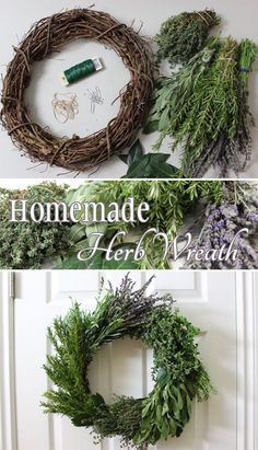 DIY Herb Wreath - The perfect kitchen DIY decor! Also, a wonderful gift for any . - DIY Herb Wreath – The perfect kitchen DIY decor! Also, a wonderful gift for any hostess. Christmas Wreaths, Christmas Crafts, Christmas Decorations, Holiday Decor, Xmas, Christmas Ornament, Diy Wreath, Door Wreaths, Boxwood Wreath
