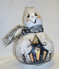Ghost Gourd with Haunted House  Hand Painted by FromGramsHouse
