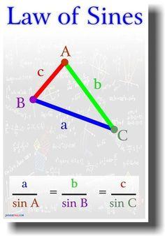 Law of Sines - Classroom Math Poster - Mathe Ideen 2020 Math Help, Fun Math, Math Games, Maths, Learn Math, Law Of Cosines, Mathematics Geometry, Math Poster, Math Formulas