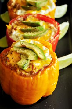 Taco Stuffed Peppers #lowcarb #stuffedpeppers #glutenfree