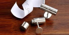 James Bond would love these! Our personalized Secret Agent Cufflinks come in a handsome gift box and include a secret compartment! Unscrew these tubular-shaped silver-toned accessories and hide a personal note for the recipient. Perfect bride-to-gro Personalized Anniversary Gifts, 1st Anniversary Gifts, Personalized Gifts, Paper Anniversary, Silver Anniversary, Engraved Gifts, Monogram Gifts, Secret Compartment, Hidden Compartments