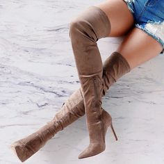 Thigh High Stretchy Suede Stiletto Heel Boots