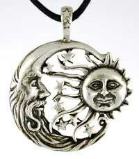Sun Moon Windblown Celestial Amulet Charm Necklace Pendant W . Pagan Jewelry, Star Jewelry, Magical Jewelry, Spiritual Jewelry, Moon Jewelry, Gypsy Jewelry, Women's Jewelry, Silver Jewelry, Unique Jewelry
