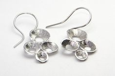 "Hook earrings, cross cluster of shells, silver, gold, oxide ""black"" silver by FavelaJewelry on Etsy"