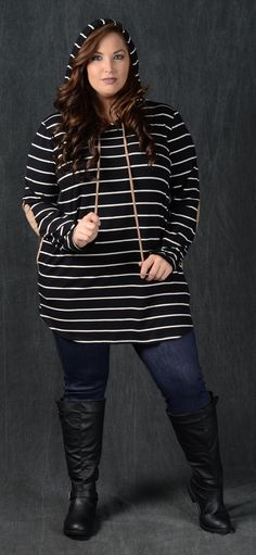 Black Striped Hooded Top - Curvy Plus Size Boutique - 2