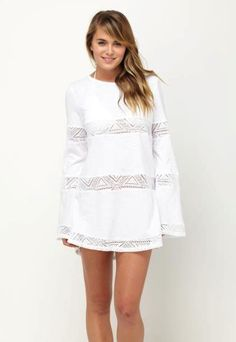 SUNGLOW MINI DRESS COVERUP WHITE $48- CALL SPLASH TO ORDER 314-721-6442