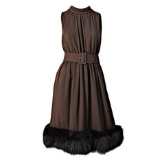ad3977dc940 Chocolate Brown Cocktail Dress With Mink Hem via Marlene Wetherell Vintage  Fashion. I like the dress without the matching jacket.
