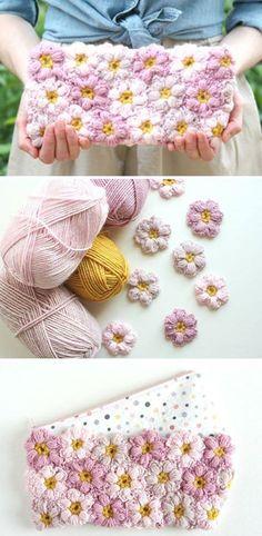 It seems really easy — to crochet a flower clutch