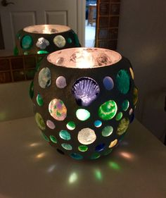 Glass Candle Vase:  this mosaic glass art has multiple functions