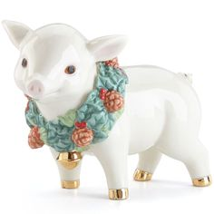 Holiday Wreath Pig Figurine By Lenox