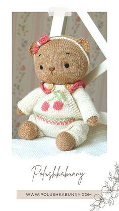 Teddy Bear Knitting Pattern, Knitted Teddy Bear, Knitting Patterns, Teddy Bear Clothes, Teddy Bear Toys, Yarn Brands, Stuffed Toys Patterns, Clothing Patterns, Doll Clothes
