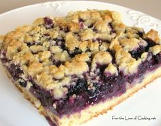 For the Love of Cooking » Blueberry Crumb Bars - Super easy to make and really delicious. I served it with a lemon drizzle (lemon juice, splash of milk and powdered sugar.) Awesome for dessert or served with coffee in the morning!
