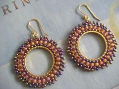 Hoop Earrings  EARTH  Multi Colored Seed Bead hoop by WorkofHeart