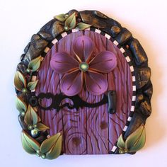 Your place to buy and sell all things handmade Purple Door, Plum Purple, Plum Flowers, Mini Houses, Fairy Doors, Fairy Dust, Tooth Fairy, Leprechaun, Portal