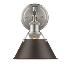Golden Lighting Orwell PW 1 Light Bath Vanity in Pewter with Rubbed Bronze Shade