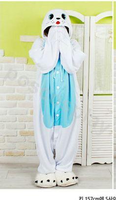KIGURUMI Animal Costume Pajamas Pyjamas Onesie Adult / Kid SLOTH-seal. $69.99, via Etsy.