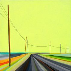 """Sunny Gerard Drive by Grant Haffner, 2014, acrylic and graphite on wood panel, 12"""" x 12"""""""
