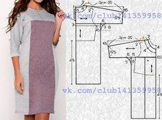Платье прямого силуэта с цельнокроеными рукавами 3/4 - моделирование. Построение базовой выкройки по двум меркам https://vk.com/album-141359958_248902091 #простыевыкройки #простыевещи #шитье #платье #моделирование