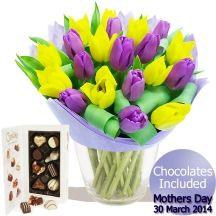 Mothers Day Tulip Bouquet & Chocolates Tulip Bouquet, Gifts Delivered, Flowers Delivered, Tulips, Mothers, Day, Chocolates, Floral, Handmade