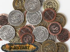 Fantasy Coins for Board Games, RPGs, LARP, or any occasion by Fantasy Coin, LLC — Kickstarter.  High quality metal coins for gaming or any occasion! 15 designs or more to choose from. Over 1 1/2 years in the making.