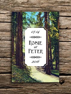 Rustic Redwoods Vintage Postcard Save the Date // Redwood Tree Wedding Invitation Woodland Save the Date California Oregon Pacific Northwest by factorymade on Etsy https://www.etsy.com/listing/213167863/rustic-redwoods-vintage-postcard-save
