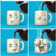 Funny but yet creative coffee cups! Ceramic Cups, Ceramic Pottery, Pottery Art, Ceramic Art, Coffee Cafe, My Coffee, Coffee Mugs, Funny Coffee, Coffee Break