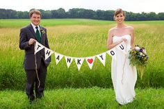wedding thank you card with banner, bride and groom