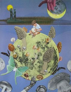 return of the giant mushroom moon by collage-a-dada (analog collages by shawn marie hardy)
