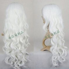 Y223 New Long White Cosplay Party Curly Wig Free Wig Cap | eBay