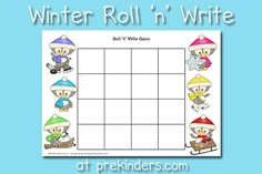 This Penguin Roll and Write Game can be used along with a Winter theme, and will help your kids practice writing letters or numbers in a fun, playful way. My class has really enjoyed practicing writing with Pre K Activities, Language Activities, Winter Activities, Preschool Winter, Writing Games, Writing Activities, Writing Letters, School Games For Kids, School Fun