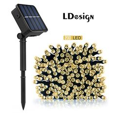 Solar String Lights, LDesign 72ft 200 LED Solar Powered String Lights Waterproof Christmas Lights with 8 Working Modes for Outdoor, Garden, Home, Christmas Party, Xmas Tree - Warm White * Additional details @