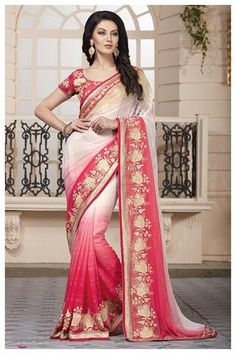 Pink & White Chiffon Saree ,Indian Dresses