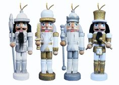 ORN007: 5 inch Nutcracker Ornaments - Set of 4 Silver and Gold