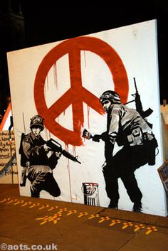 Banksycanvas originally in Parliament Square, London