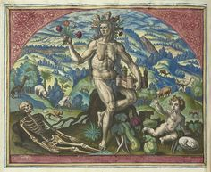 The Four Elements and Temperaments from an Album of Prints after Maerten de Vos (ca. 1583) – The Public Domain Review 4 Elements, Classical Elements, Classical Art, Element Terre, Alchemy Art, Greek And Roman Mythology, Mural Painting, Illustrations, Gravure