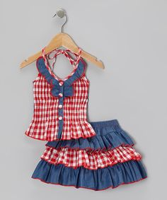 Perfect Little Splash of 'Country' - Red Checkerboard Halter Top & Tiered Skirt - Toddler & Girls.