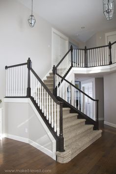 How to Stain/Paint an Oak Banister (the shortcut method…no sanding needed!) DIY: How to Stain and Paint an OAK Banister, Spindles, and Newel Posts (the shortcut method.no sanding needed! Painted Banister, Wood Railings For Stairs, Diy Stair Railing, Stair Banister, Oak Stairs, Banisters, Basement Stairs, Railing Ideas, Painted Staircases