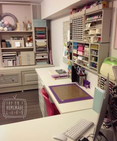 This is my craft room paper station. Paper, Stamp, Dies, Marker, Washi & Ink storage is by www.stampnstorage.com