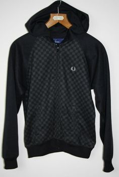 Vintage Fred Perry Mens Boys Jacket Blezer Hoodie Sweat Shirt Size M Zip BLACK
